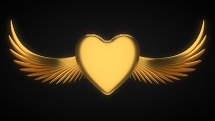 winged golden heart for valentine's day. 3d illustration