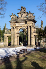 Old historic amazing neo-renaissance style cemetery portal in Horice in Czech republic, sunny day