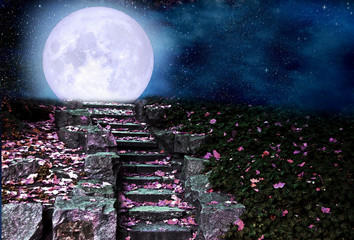 Stone steps in the night park, full moon rising over the hill