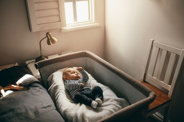 Baby sleeping in a bedside crib