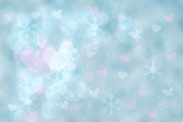 Abstract festive illustration. Abstract festive blurred light blue gradient pink background texture with love bokeh hearts and circles. Beautiful template for valentine, wedding or other holidays.