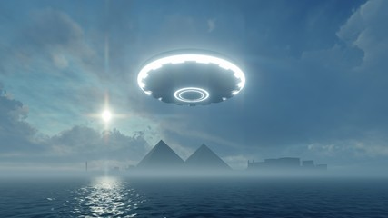3d UFO hanging in the sky over the ancient pyramidsv - Buy this