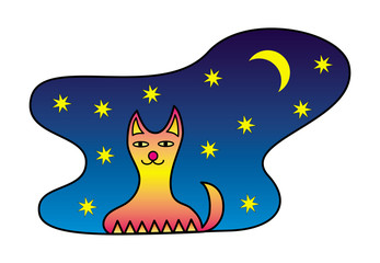 Cartoon cat against the sky, stars and the moon. Graphic symbol, sign, logo. Vector graphics art.