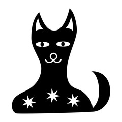 Cartoon black and white cat with stars. Graphic symbol, sign, logo. Vector graphics art.