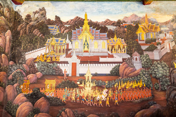 Bangkok the capital of Thailand. February 16. 2016. The royal palace in Bangkok. Thai style buddhist mural painting at the royal grand palace. Thailand. Asia