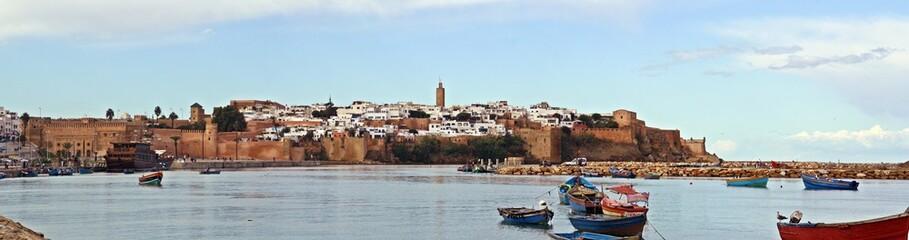 Panorámica de la Bahía de Rabat, Kasbah de los Oudayas, Rabat, Marruecos.