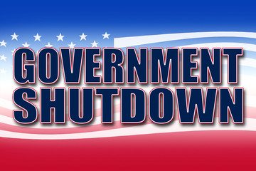Government Shutdown banner in red, white, and blue with stars and stripes
