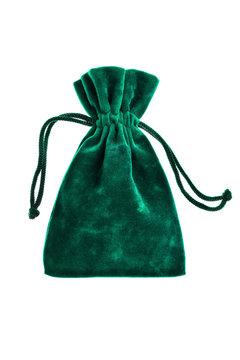 velvet green pouch isolated on white