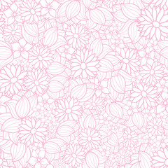Vector pink and white floral seamless pattern background. This monochrome texture of overlapping flowers is perfect for fabric, wallpaper, gift wrapping paper, scrapbooking projects.