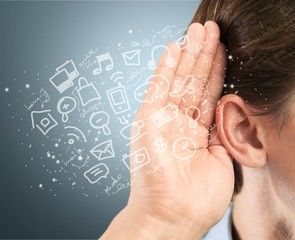 Man ear listening, copy space background
