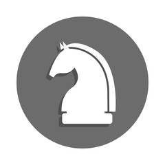 chess knight icon in badge style. One of chess collection icon can be used for UI, UX