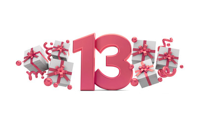Number 13 pink birthday celebration number with gift boxes. 3D Rendering
