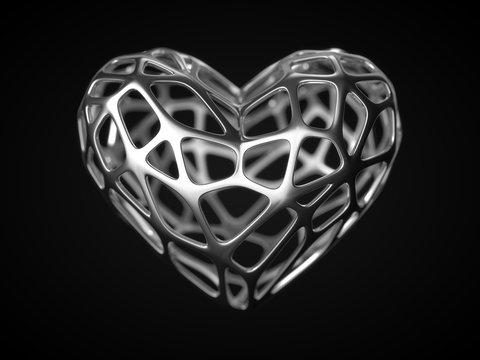 silver frame heart for valentine's day. 3d illustration