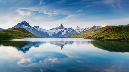Fotomurales - Great view of the snow rocky massif. Location Bachalpsee in Swiss alps, Grindelwald valley.