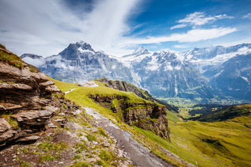 Great alpine valley that glows in the sunlight. Location place Swiss alps, Grindelwald valley.