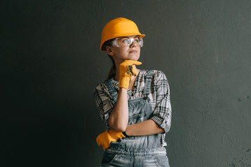 woman worker in hard hat