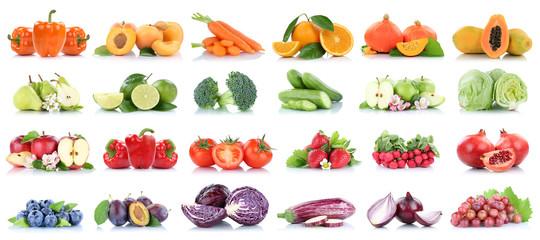 Wall Mural - Früchte Obst und Gemüse Sammlung Apfel Birnen Orange Bananen Salat Erdbeeren Farben frische Freisteller freigestellt isoliert