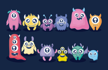 group of cute monsters card