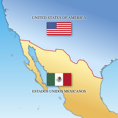 Usa and Mexico border map with national flags