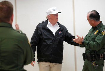 U.S. President Trump greets border patrol agents during visit to U.S.-Mexico border in McAllen, Texas