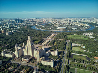 Aerial drone view of Lomonosov Moscow State University MGU, MSU on Sparrow Hills, Moscow, Russia. Beautiful park area