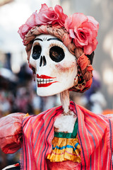 Traditional catrina decorated for Dia de los Muertos/Day of the Dead celebration