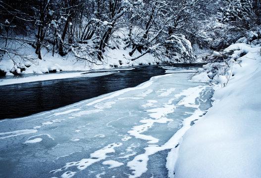 winter river incomplete frozen