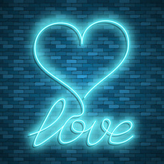 Happy Valentines Day. Neon. Vector stock images