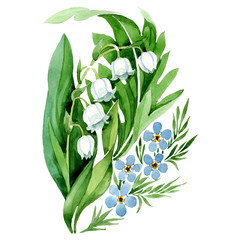 Lily of the valley bouquet flower. Watercolor background illustration set. Isolated forget me not illustration element.