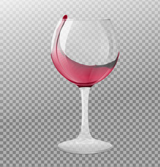 Realistic transparency wineglass with splash. Vector illustration isolated on white background. EPS10.