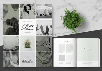 Photo Album Layout with Green Accents