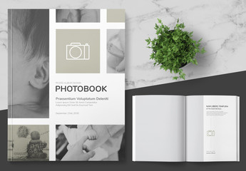 Photo Album Layout with Grey Accents
