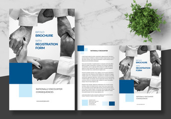 Business Brochure and Registration Form Layout with Blue Accents