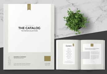 Holiday Catalog Layout with Gold Accents