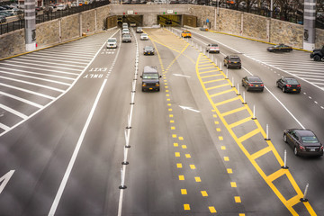 New York City tunnel with vehicles in multiple lanes Wall mural