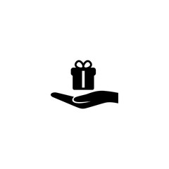 hand holding a gift icon vector. hand holding a gift vector graphic illustration