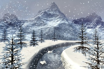 Snowfall, a winter landscape, snowy stones in the river, beautiful trees, mountains and a cloudy sky.