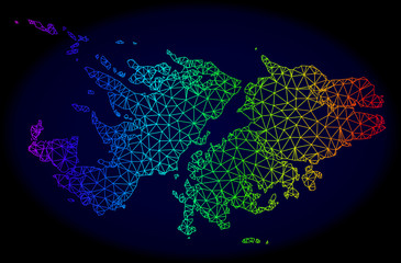 Rainbow colored mesh vector map of Falkland Islands isolated on a dark blue background. Abstract lines, triangles forms map of Falkland Islands. Carcass model for patriotic templates.