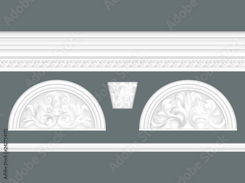 White Classic Relief And Cornice Set Isolated Architectural