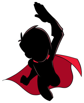 Cartoon silhouette illustration of powerful and healthy super boy flying while wearing superhero costume against white background for copy space.