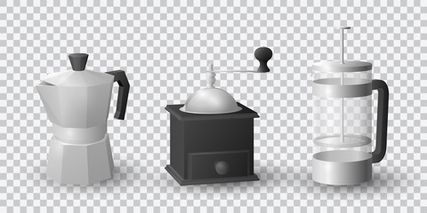 Realistic vector set of beautiful italian aluminium coffee mocca kettle, french press coffee maker and a black vintage coffee grinder on transparent background.