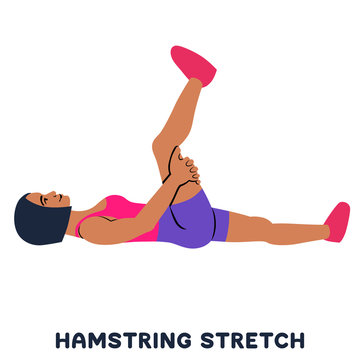 Hamstring stretch. Sport exersice. Silhouettes of woman doing exercise. Workout, training.
