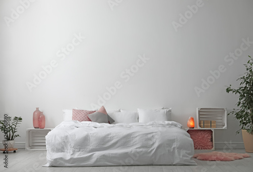 D rendering illustration of modern house interior bed room part