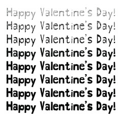 Happy Valentine's Day! scribbled handwritten style text with an ink pen effect with variations vector design set