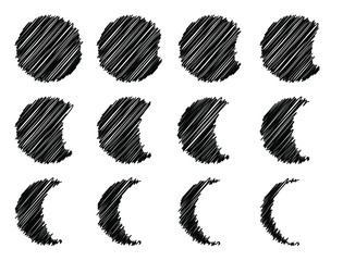 Scribbled style circle and eclipse set with stages of moon shapes in hand drawn ink pen style crescent shapes