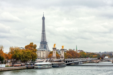 Autumn in Paris near Eiffel tower and Alexander III bridge