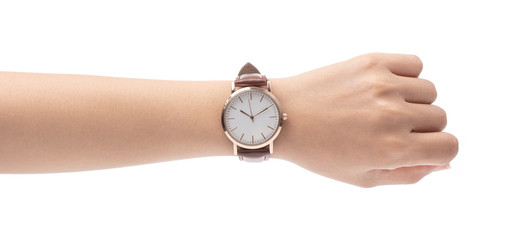 hand with Wrist Watch isolated on white background Wall mural