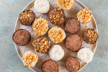 Brigadeiro is a common Brazilian dessert. Top view background Valentine's Day, Christmas, New Year.