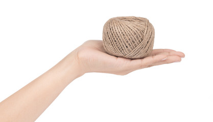 hand holding wool yarn isolated on a white background.