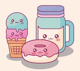 sweet donuts and ice cream kawaii characters